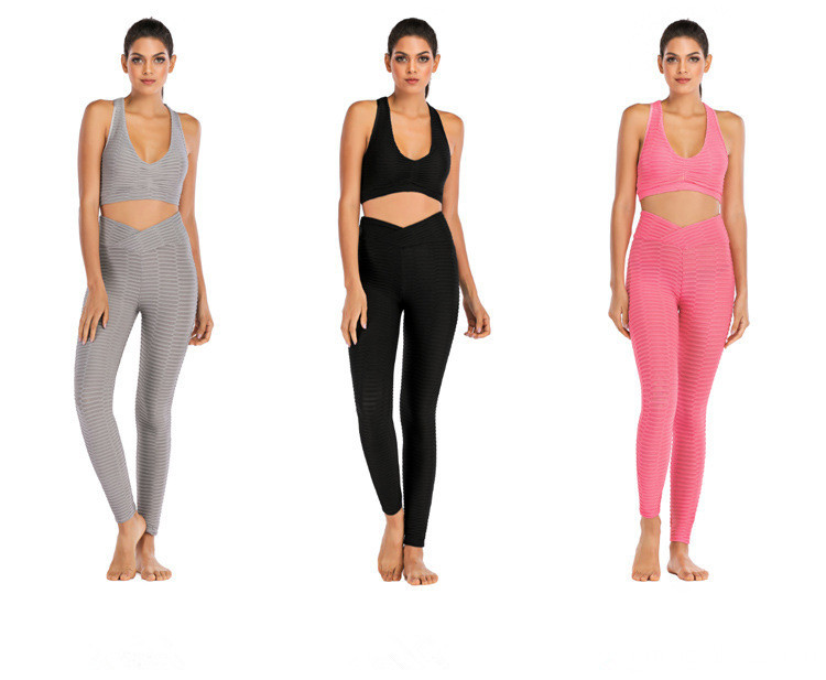 Fashion Hips Jacquard Yoga Legging Pants & Bra