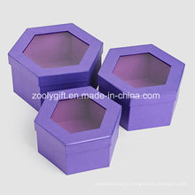 Качественная металлическая фиолетовая цветная бумага Шестиугольная форменная косметическая подарочная коробка с окном