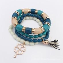 Bohemia style multicouches perles clover pendentif charme bracelet