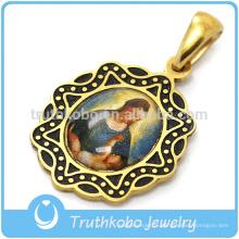 Pendentif en or Notre-Dame de Guadalupe en or 18 carats avec médaille Vierge Marie de la Guadeloupe en plaqué Vierge Marie pendentif-316L en acier inoxydable