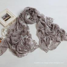 Bufanda larga de las mujeres de la bufanda del poliester de la bufanda de la impresión del anacardo de la manera, mantón del color de Brown (PP038BL)