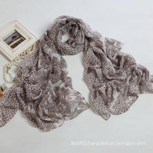 Fashion Cashew Printing Scarf Polyester Voile Women′s Long Scarf, Brown Color Shawl (PP038BL)