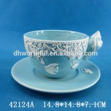 Encantadora serie de cerámica de cerámica y platillo