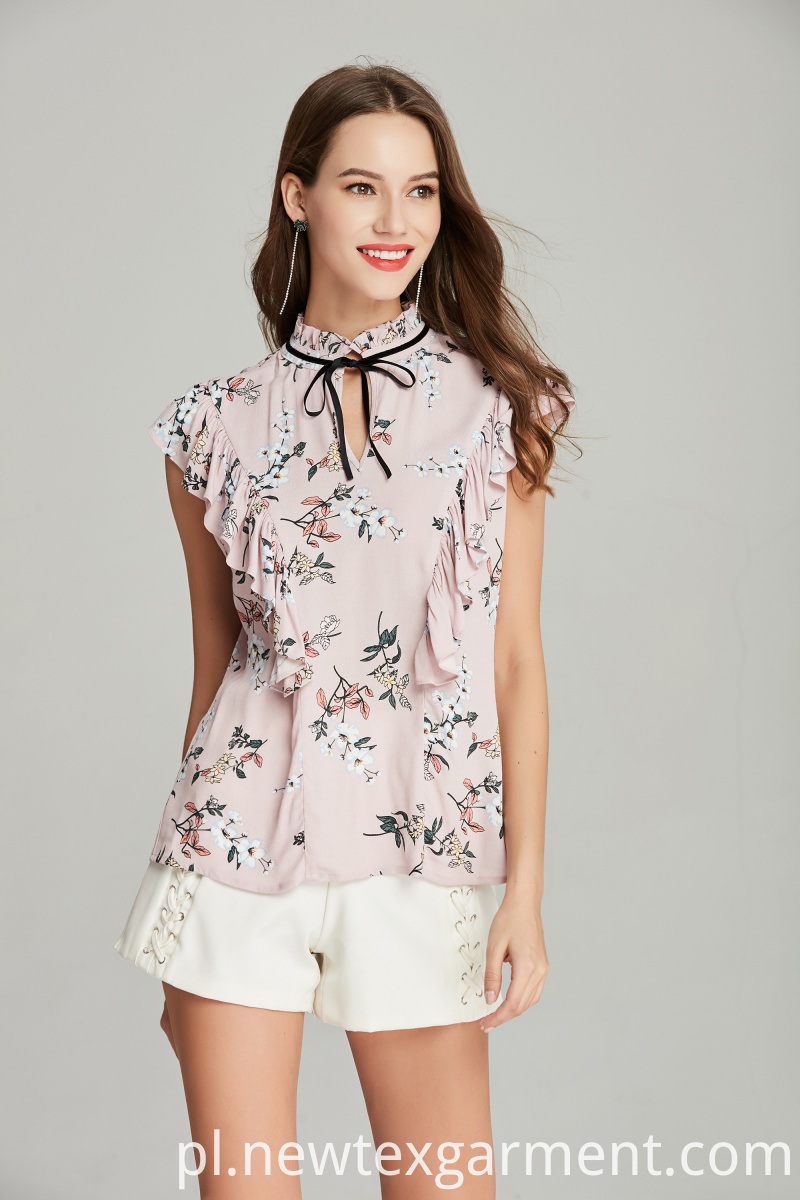 fashion frill printed blouse