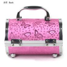 Runde Aluminium Box Beauty Make-up Fall rosa Muster Box