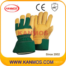 Yellow Cowhide Leather Industrial Safety Work Gloves (120031)