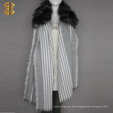 Echtes Silber Fox Pelz Trim Lange Strick Schal