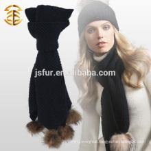 2015 New Product Fashion Customized Warm Winter Scarf with Raccoon Fur Pom Pom Knit Crochet Scarf