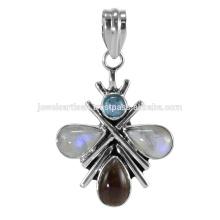 Ultimas Designer Rainbow Moonstone e Multi Gemstone 925 Solid Silver Pendant