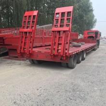 واجب ثقيل 3 محاور 100t Lowbed Low Bed Truck Trailer Lowboy Flatbed Truck