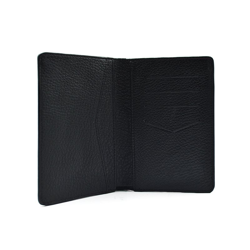 Black Soft Travel Holder Leather Passport Card Holder