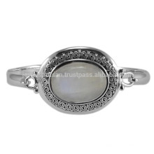 Natural Rainbow Moonstone Gemstone & 925 Sterling Silver Antique Style Wedding Bangle