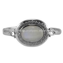 Природные Радуга Лунный Камень Драгоценный Камень & 925 Серебряный Античный Стиль Свадебные Браслет