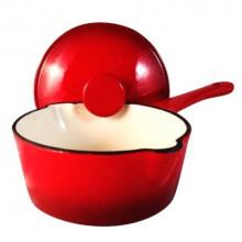 Round Red Cast Iron Saucepan Deep Pan