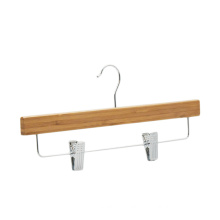China natural bamboo clothes hanger bamboo clips hanger for trousers and pants