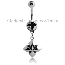 Surgical Steel Kool Katana Belly Rings Iron-cross