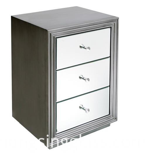 Antique Silver Mirrored Bedside Table Mf 1804