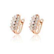 97123 xuping luxo moda rosa de ouro cor de zircão sintético pavimentada senhoras brincos de argola