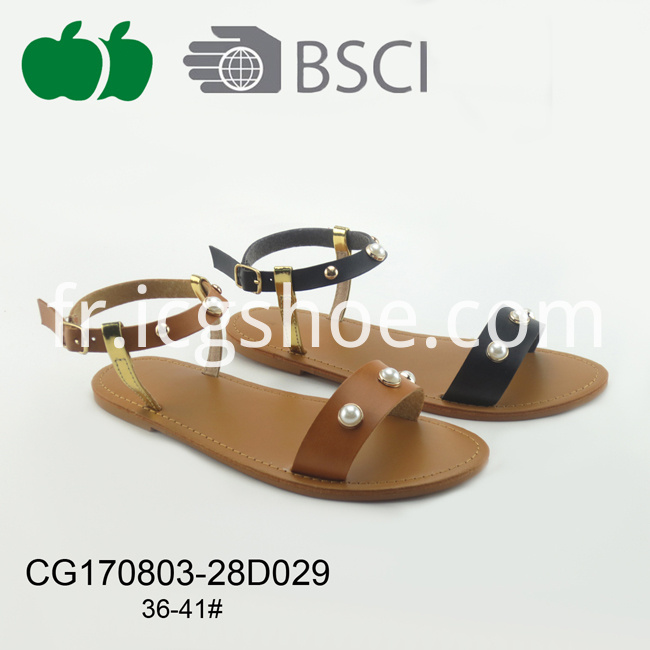 Fashion Beautiful Women Cheap Flat Pu Sandals