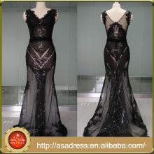 ASAM-06 Sparkly Sequins Appliques Sleveless V-neck See Through Evening Dresses