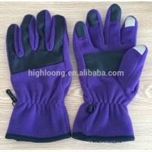 Перчатки из флиса высокого качества с фиолетовым рисунком высокого качества для пар