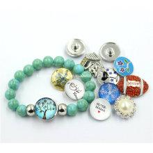 2016 Cheap Wholesale Snap Button Design Blue Crack Beads Bracelet