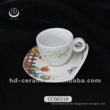 Keramik Espressotasse und Untertasse, Kaffeetasse und Untertasse