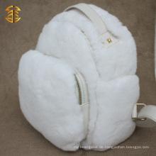 Neuer Entwurfs-weiße wirkliche Kaninchen-Pelz-Beutel mit echtem Leder-Pelz-Rucksack