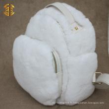 Sac de fourrure de lapin réutilisable nouveau design blanc avec sac à dos en fourrure en cuir véritable