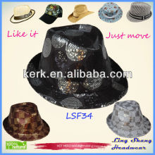 LSF34 Best Price Stylish Sequins Fabric Fedora Hat cheap top hats and caps men