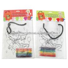 niños DIY bolso no tejido pp con crayón