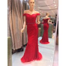 2017 Aus Schulter Sexy Red Stone Perlen Bling Stickerei Meerjungfrau Abendkleider