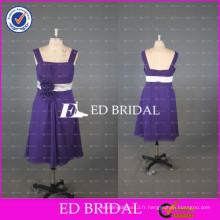 ED Bridal China Custom Made A Line Longueur au genou Robe en mousseline de demoiselle en mousseline de soie mauve avec blanc Sash 2017