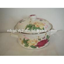 porcelain enamel strait pot with metal lid