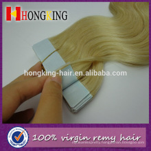 #613 blonde wavy russian hair tape hair extensions