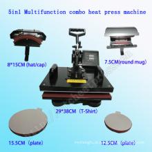 5 em 1 T-Shirt Heat Press Machine 5 em 1new Condição Automática Type5in1 Combo Dye Impressora de Sublimação Garment Imprensa Máquina Multifunction Calor Press Machine