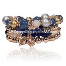 fashion jewelry low moq innovative craft leaves handmade beads shamballa bracelet