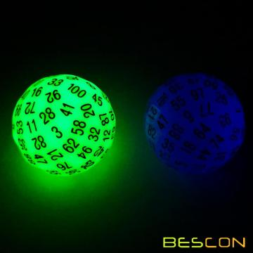 Bescon Super Jade Glow en Dark Polyhedral Dice 100 lados, Luminoso D100 muere, 100 Sided Cube, Glowing D100 Game Dice