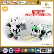Carro eléctrico transformar robot de juguete con luz y música