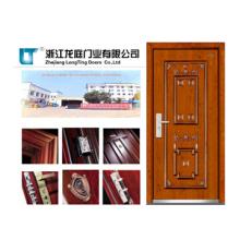 Porta blindada de madeira de aço com pele moldada da porta do folheado