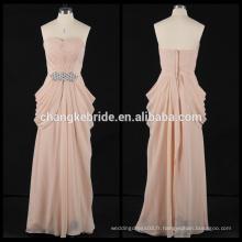 2017 New Style Strapless Plis A-ligne en mousseline de soie robe de soirée robe de soirée strass