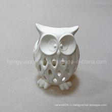 Белый выдолбленный орнамент сыча, малый свет ночи, держатель свечки, керамический,