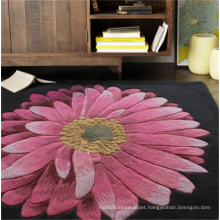 Big Flower Black Wool Carpet