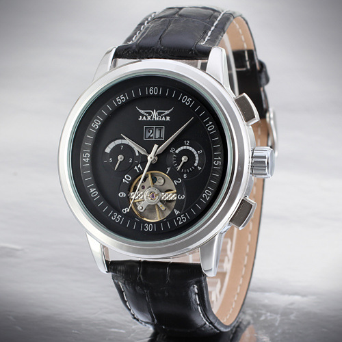 Tourbillon Leather Strap Skeleton Mens Sport Montres