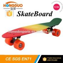 High quality 22 inch fish skateboard, three 3 colored fade painting mini Cruiser retro plastic skateboard