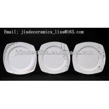 Nueva línea de plata del diseño forma cuadrada magnífica Placas finas del cuadrado de China de hueso