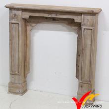 Antique Rustic Indoor Freestanding Wood Fireplace Mantel