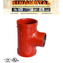 FM /UL Approved Ductile Iron Grooved Coupling Reducing Threaded Tee.