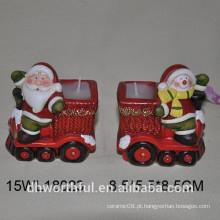 Santa forma cerâmica tealight titular para férias de Natal