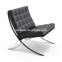 Black Leather Recliner Lounge Chair Barcelona Chair & Ottoman